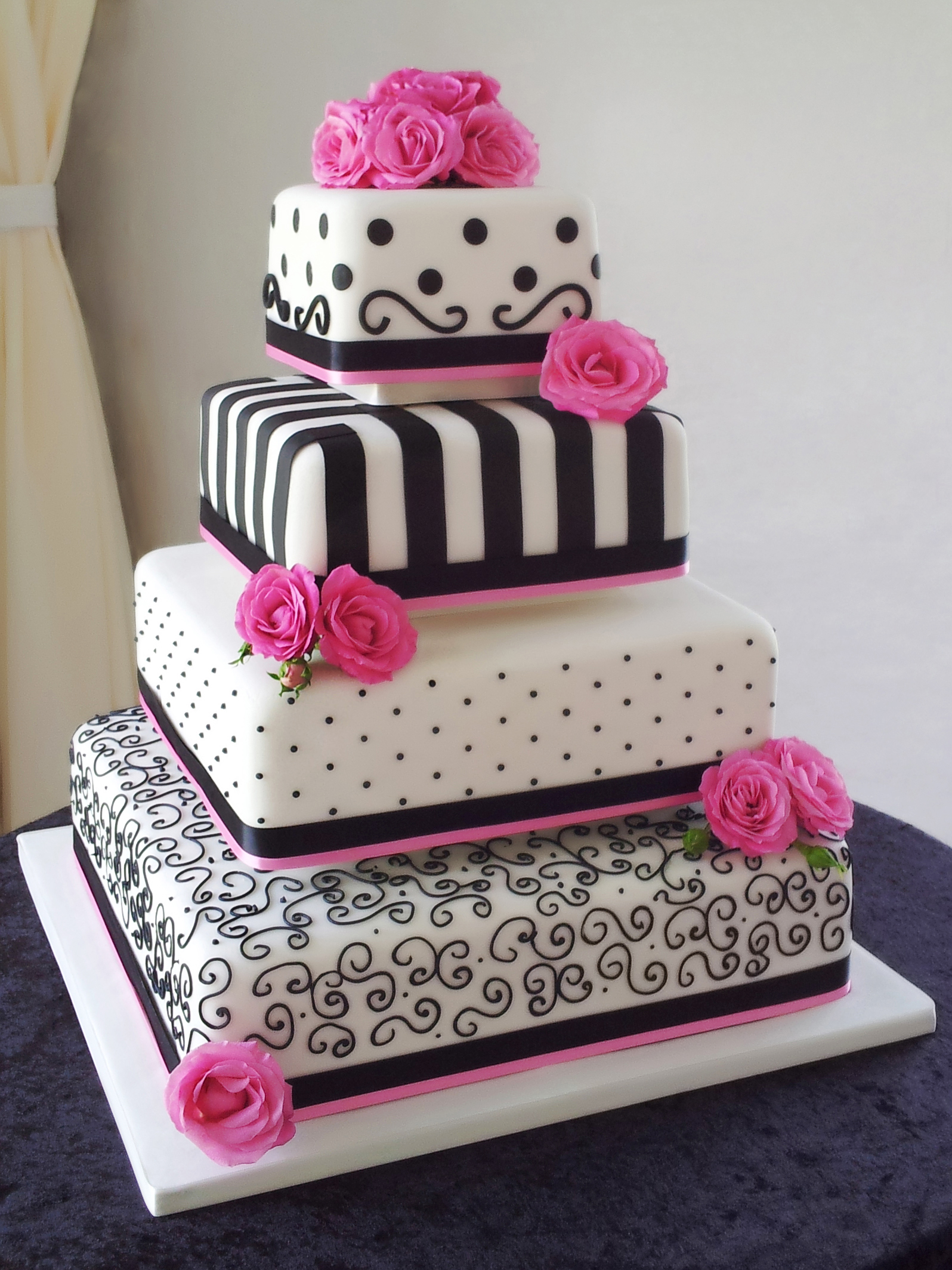 9 Fushia And Black Wedding Cakes Photo - Pink and Black Wedding Cake ...