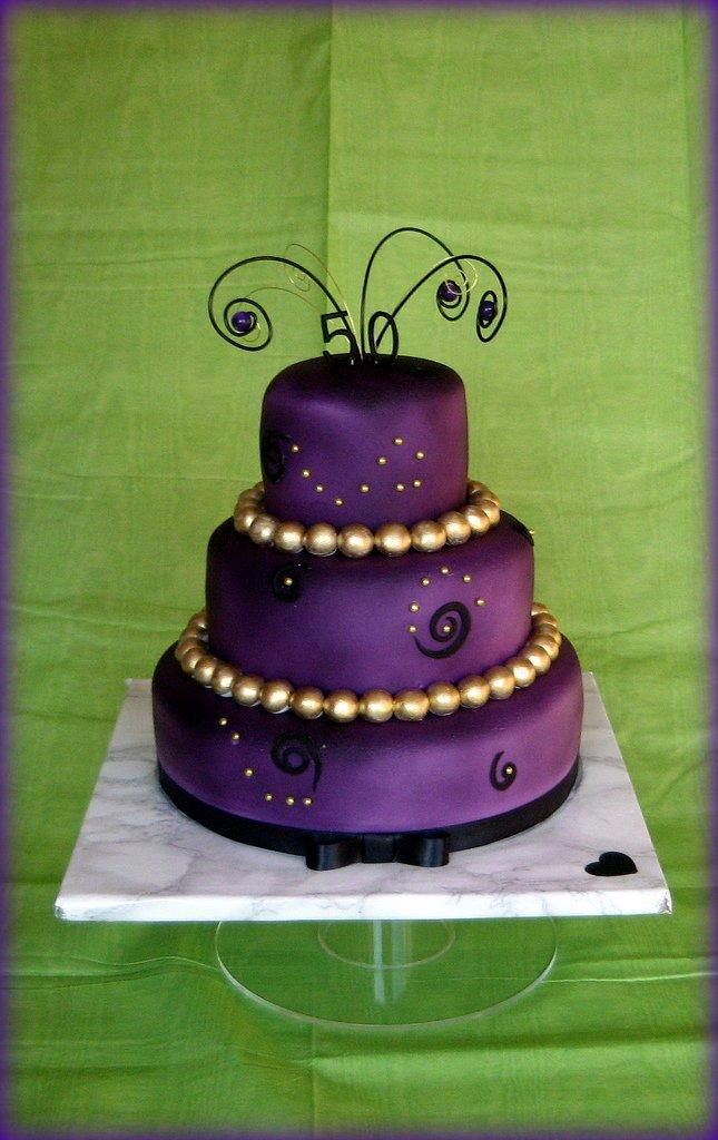 Purple And Gold Birthday Cake