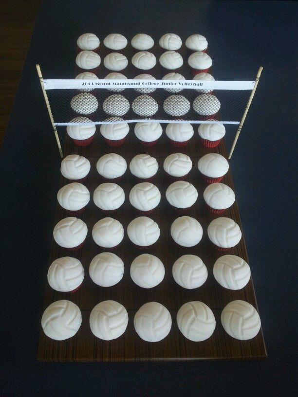 12 Volleyball Themed Cupcakes Photo Volleyball Cake Decorations