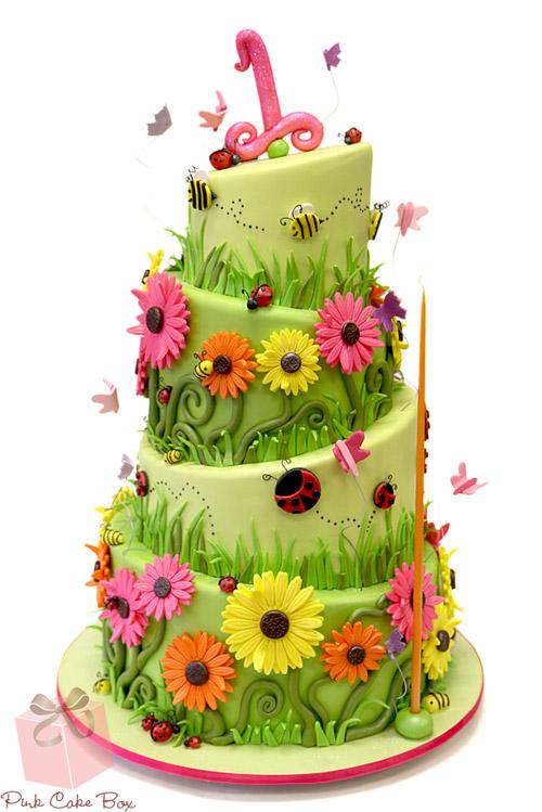 Outstanding 12 Girls Birthday Cakes For Spring Photo 1St Birthday Garden Funny Birthday Cards Online Necthendildamsfinfo