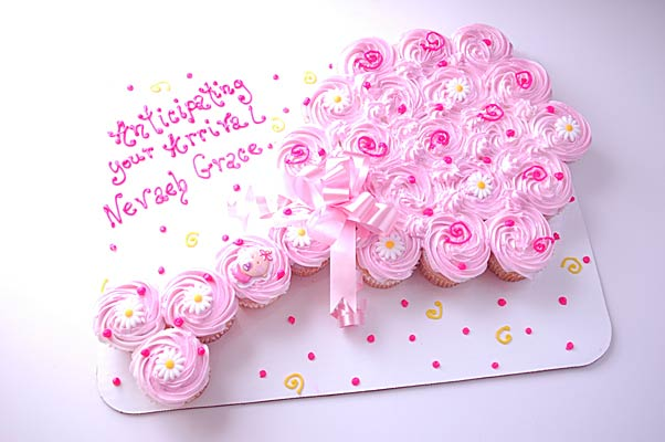 11 Girl Baby Shower Pull Apart Cupcake Cakes Photo Baby Shower