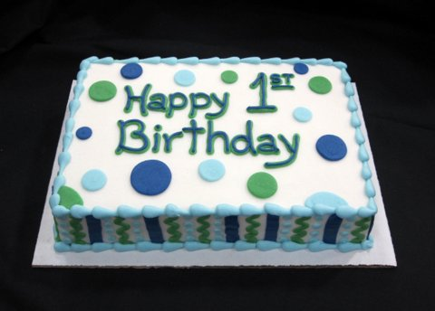 5 Apple Green And Brown And Blue Birthday Cakes Photo Blue And