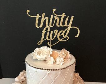 Happy Birthday 35th Cake Topper