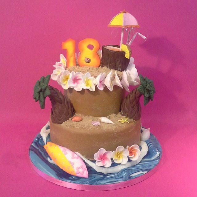 Stupendous 12 18Th Birthday Cakes Beach Themed Photo Hawaiian Themed Funny Birthday Cards Online Bapapcheapnameinfo