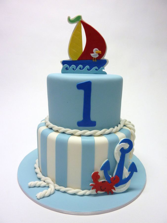 Cool 8 Anchor 1St Birthday Cakes For Boys Photo Nautical Birthday Funny Birthday Cards Online Sheoxdamsfinfo