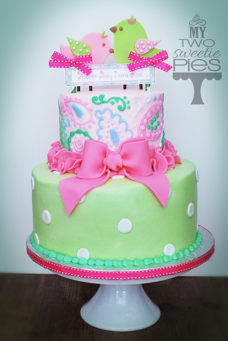 Pink And Green Baby Shower Cake Image Cabinets And Shower Mandra