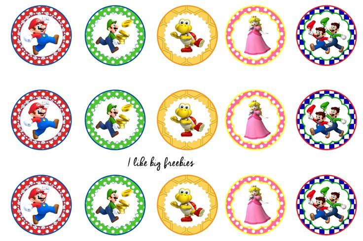 Super Mario Cupcake Toppers Printable Free