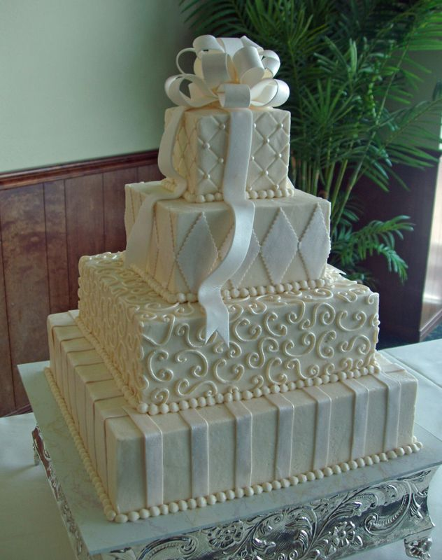 12 Square Buttercream Wedding Cakes With Designs Photo Square