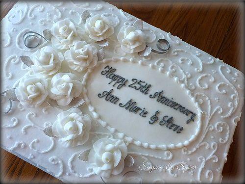 9 White Sheet Cakes Anniversary Photo - 25th Wedding Anniversary ...