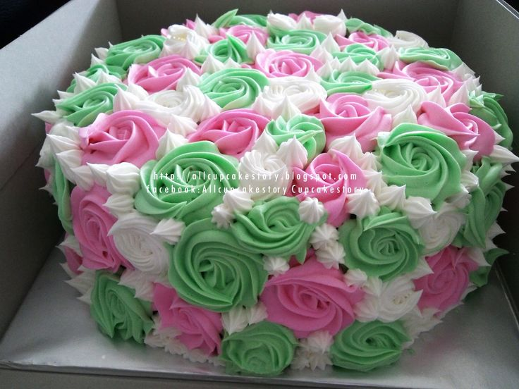 13 Pink And Green Colored Birthday Cakes Photo Pink And Green