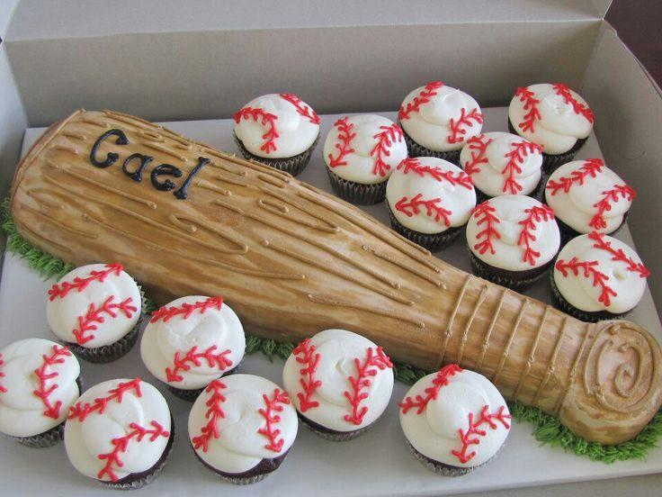 Surprising 5 Baseball Bat Themed Cakes Photo Baseball Cupcake Birthday Cake Funny Birthday Cards Online Necthendildamsfinfo