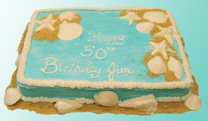 10 50th Birthday Cakes Beach Themed Photo Beach Theme 50th