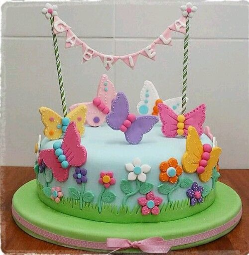 Outstanding 12 Little Girl Butterfly Cakes Photo Rainbow Birthday Cake Funny Birthday Cards Online Overcheapnameinfo