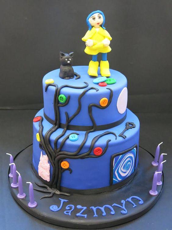 Awe Inspiring 11 Coraline Birthday Cakes Photo Coraline Birthday Cake Funny Birthday Cards Online Inifodamsfinfo