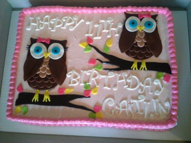 13 Bird And Owl Sheet Cakes Photo Owl Birthday Sheet Cake Owl
