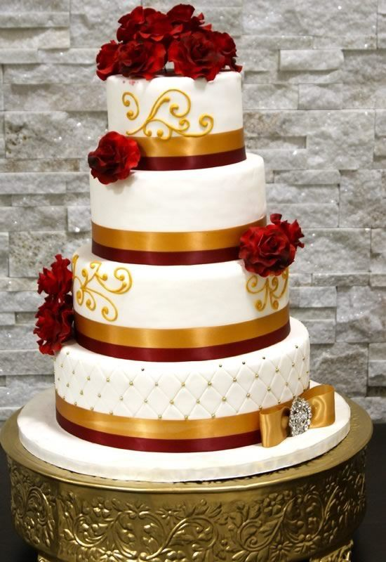 10 Big Red And Gold Wedding Cakes Photo - Red and Gold Wedding Cake ...