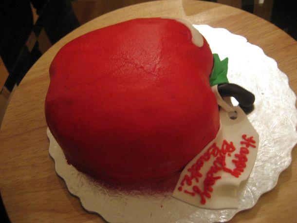 Wondrous 9 Apple Shaped Birthday Cakes Photo Apple Birthday Cake Apple Funny Birthday Cards Online Fluifree Goldxyz