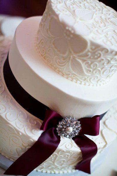 Burgundy Winter Wedding Cake