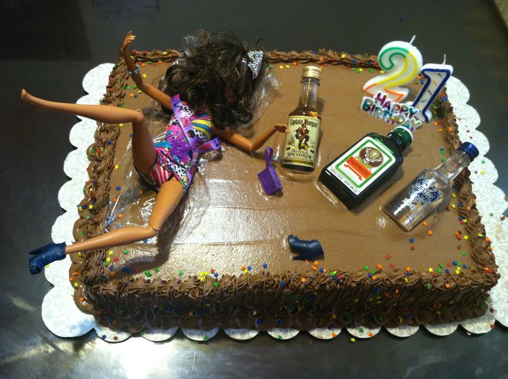 12 Funny 21st Birthday Cakes Photo Drunk Barbie 21st Birthday Cake