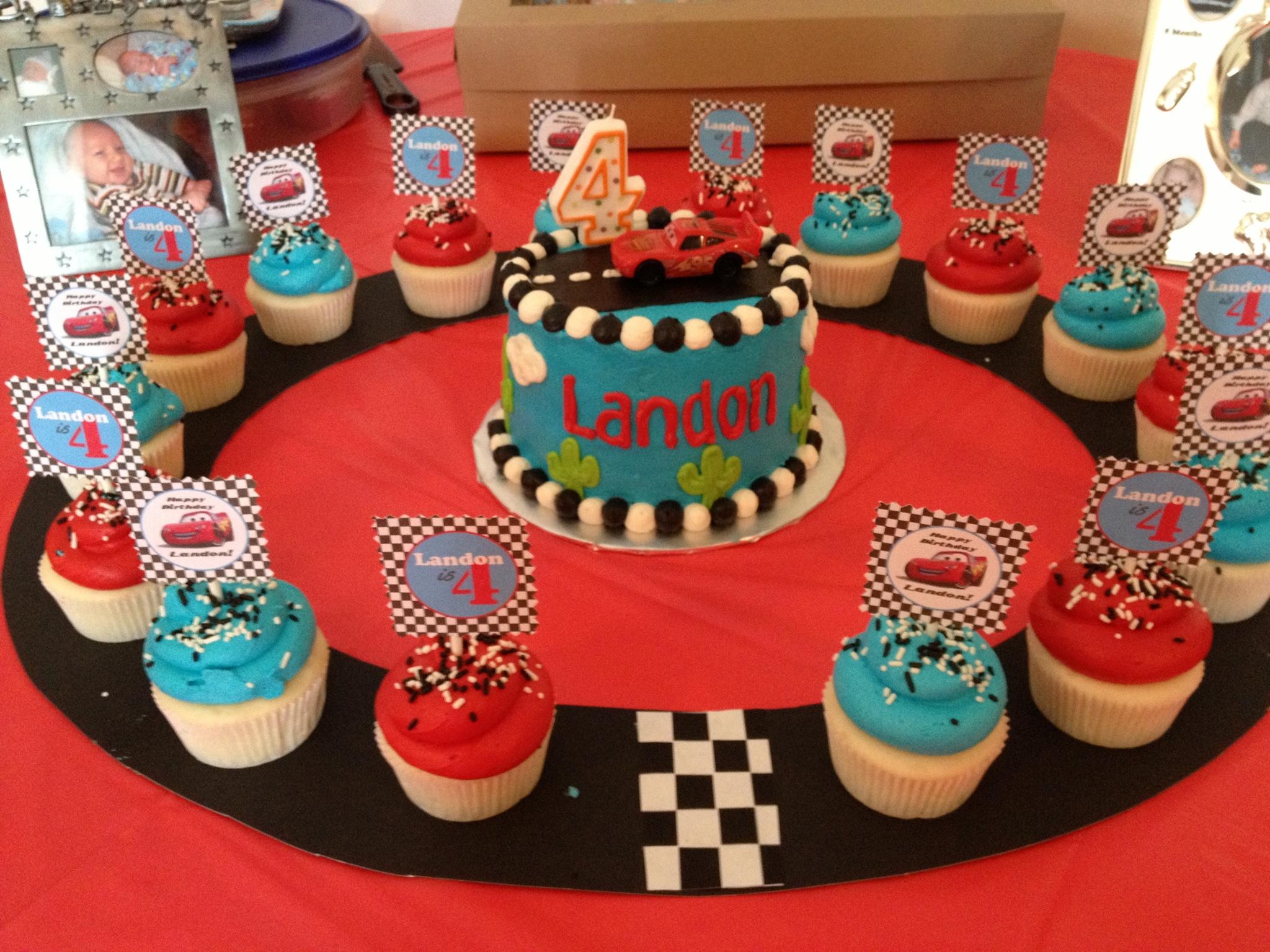 Marvelous 11 Disney Cars Birthday Cake With Cupcakes Photo Race Car Birthday Cards Printable Inklcafe Filternl