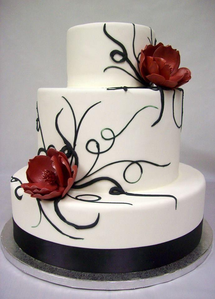 8 Beautiful Wedding Cakes Black Red Photo - Red White and Black ...