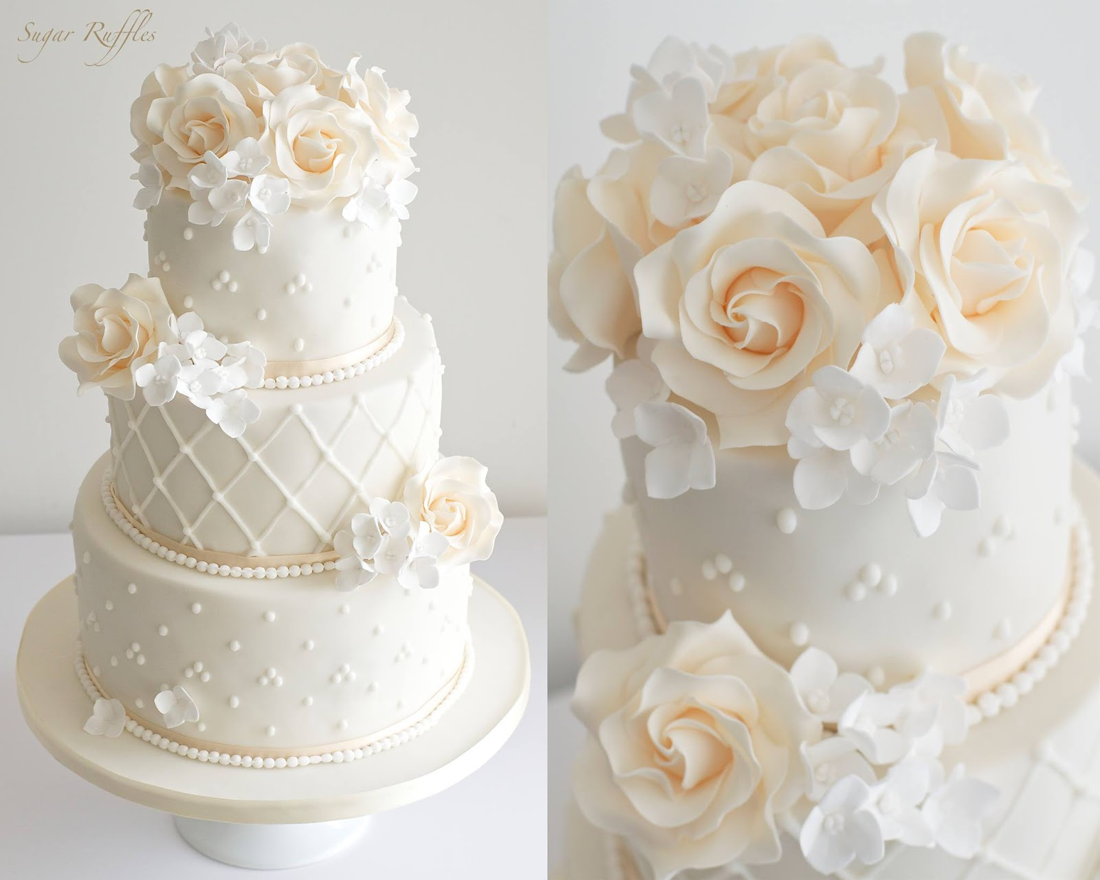 12 Floral Wedding Cakes Piping Photo Coral Color Wedding Cake With