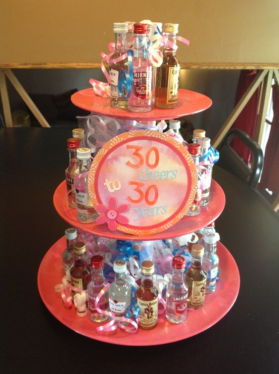 30th Birthday Cake With Alcohol Bottles