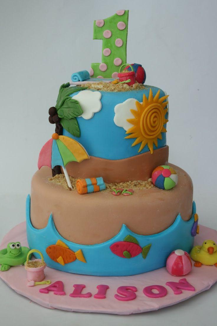 13 First Birthday Beach Cakes Photo Beach Birthday Cake Beach