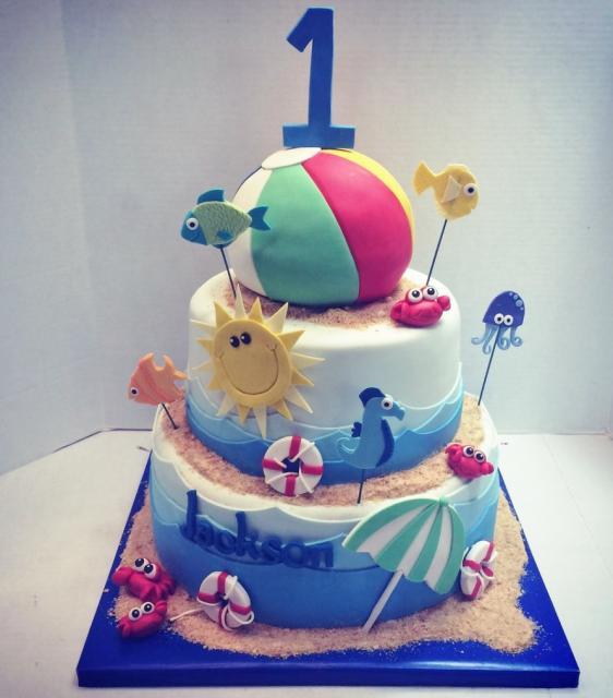 Amazing 13 First Birthday Beach Cakes Photo Beach Birthday Cake Beach Birthday Cards Printable Benkemecafe Filternl