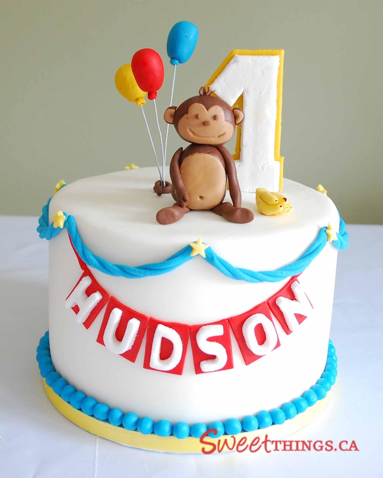 Groovy 13 First Birthday Monkey Love Cakes Photo Pink Mod Monkey 1St Personalised Birthday Cards Petedlily Jamesorg