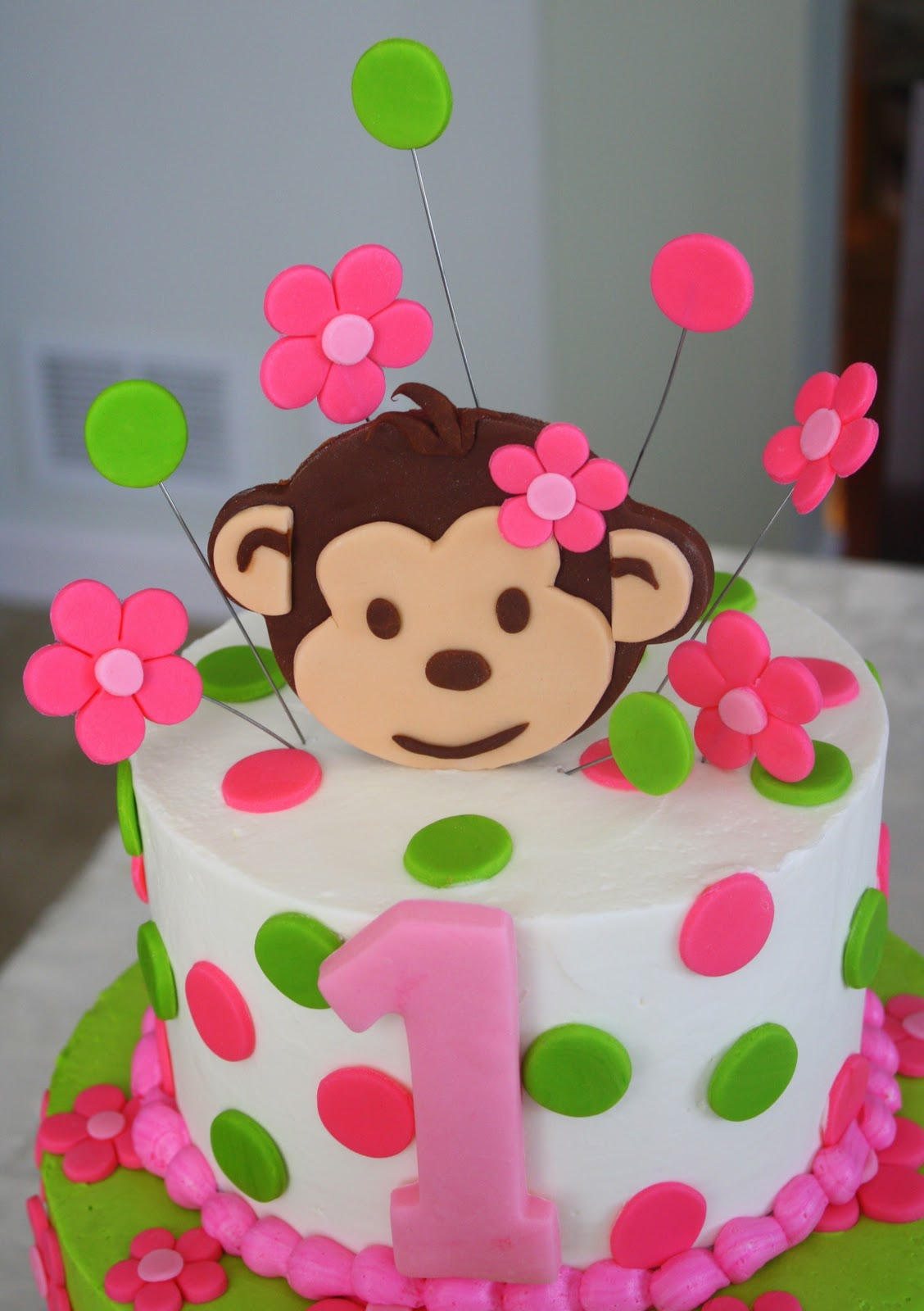 Astounding 13 First Birthday Monkey Love Cakes Photo Pink Mod Monkey 1St Funny Birthday Cards Online Alyptdamsfinfo