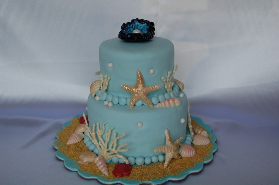 6 Pictures Cakes With Seashells Around It Photo Wedding Cake With