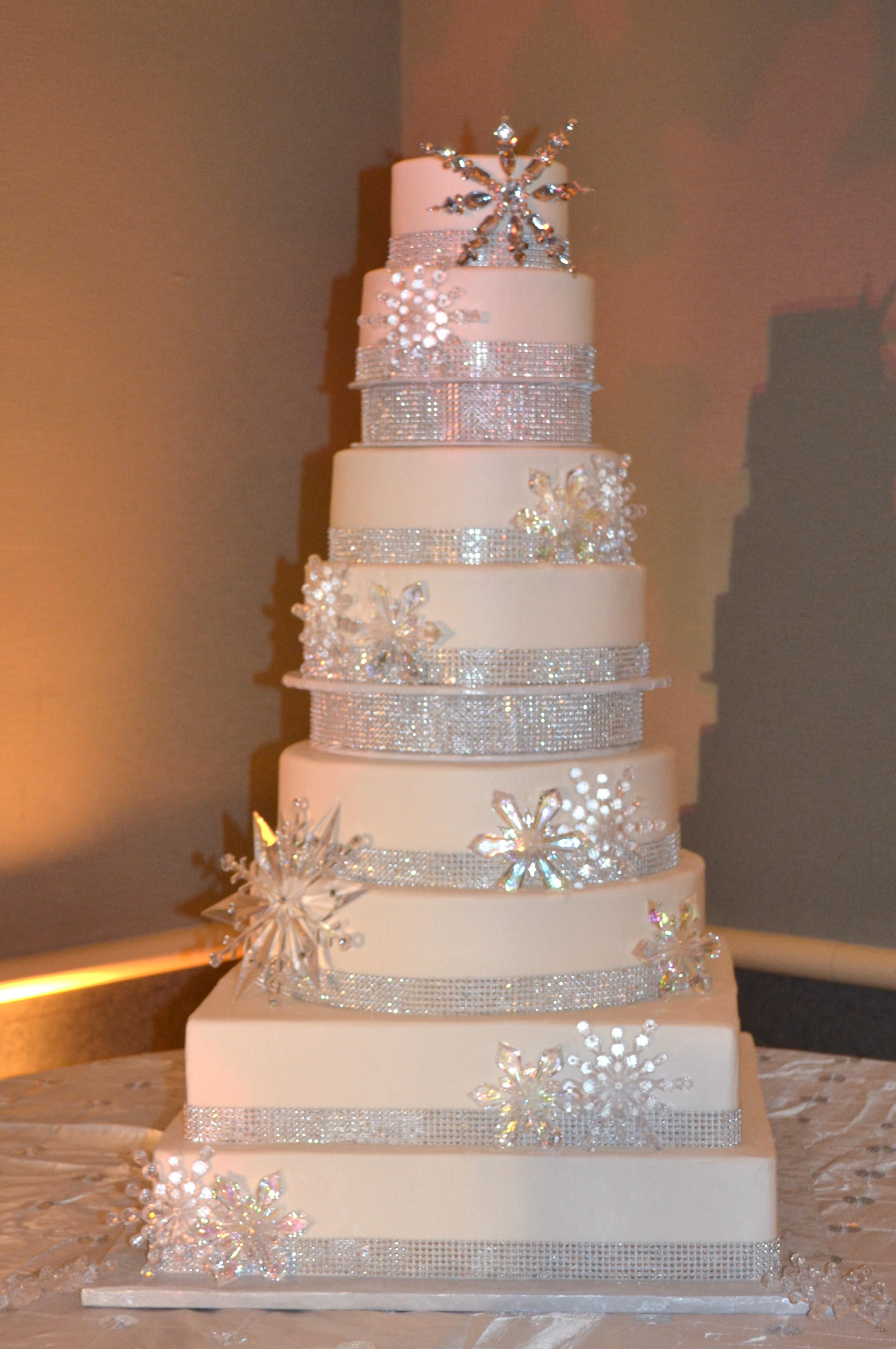 9 Jeweled Snowflake Wedding Cakes Photo - Crystal Snowflake Cake ...