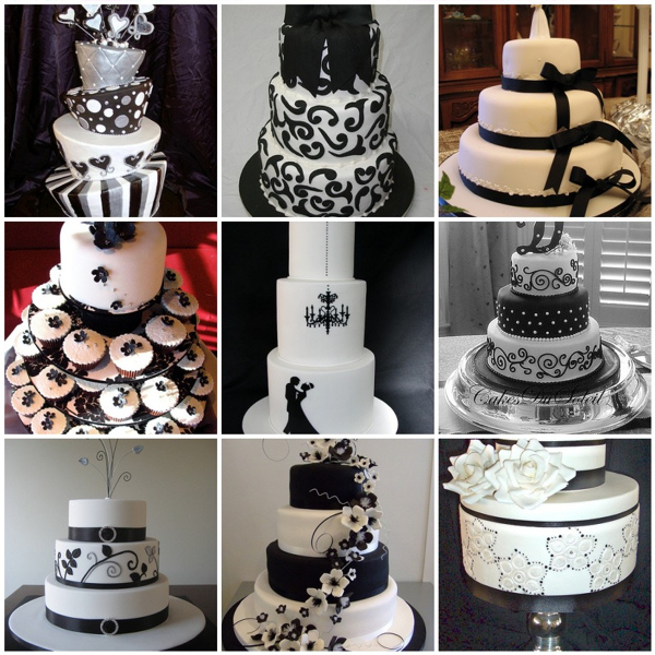 13 Black And White Themed Wedding Cakes Photo Black And White