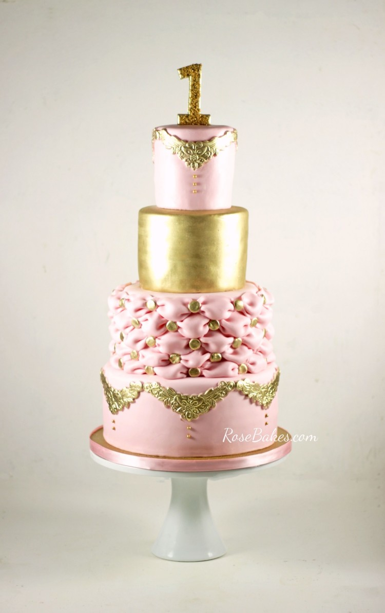 11 Pink And Gold Elegant Birthday Cakes Photo Elegant Birthday