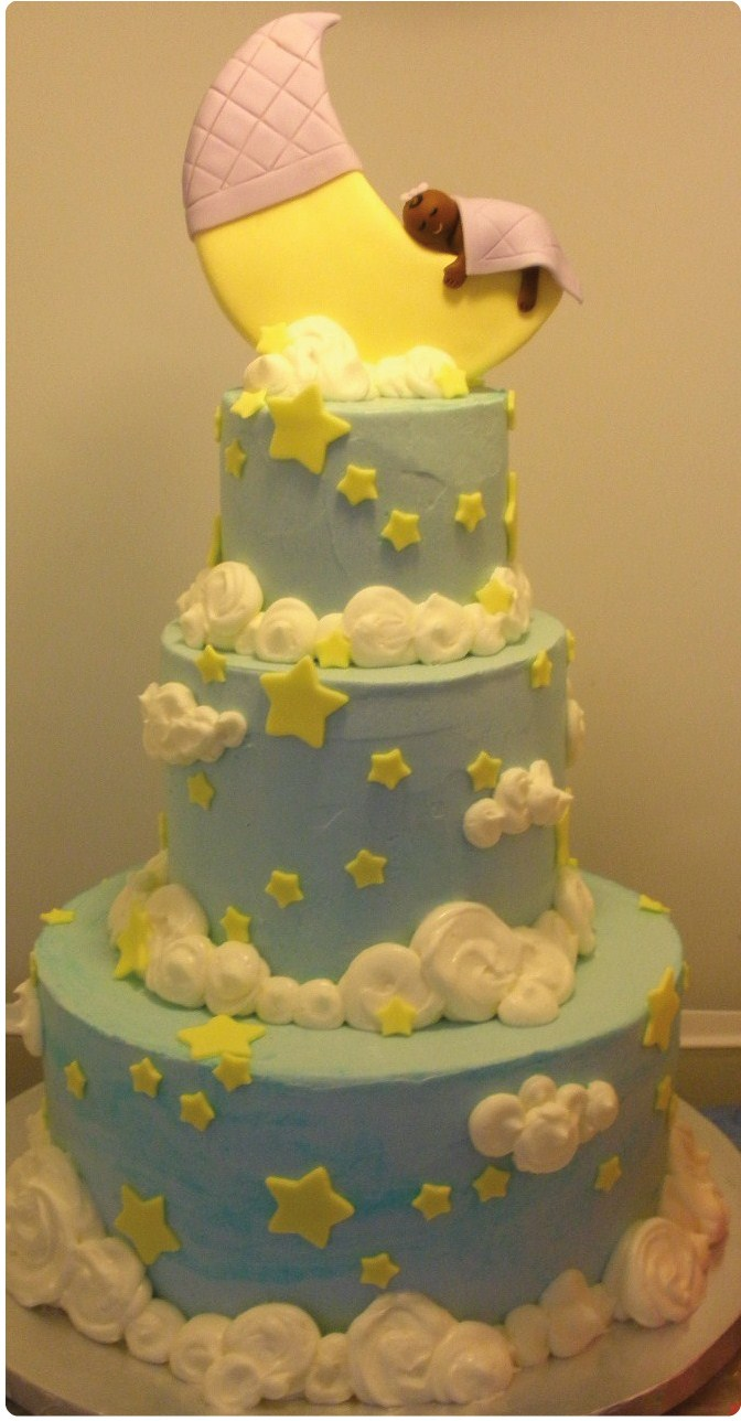 12 Baby Boy Shower Cakes With Moon Photo Moon And Stars Baby