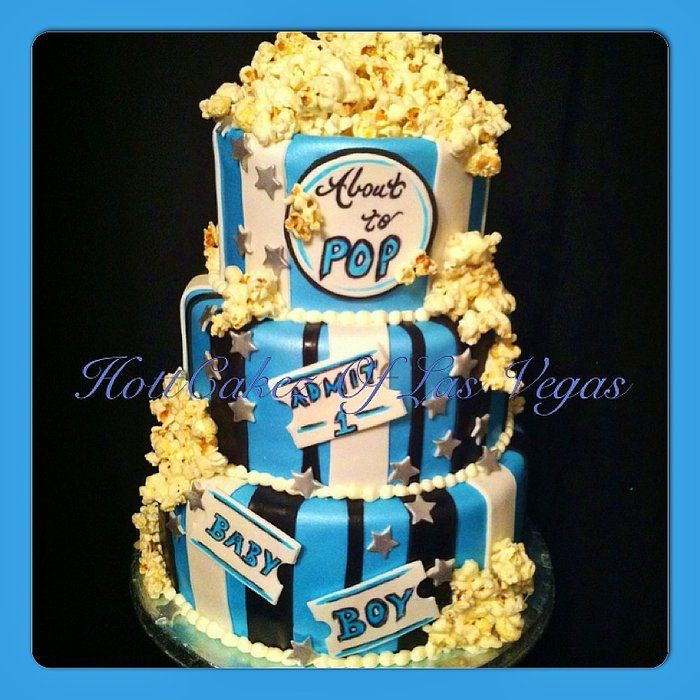 10 Popcorn Baby Shower Theme Cakes Photo Movie Popcorn Themed Baby