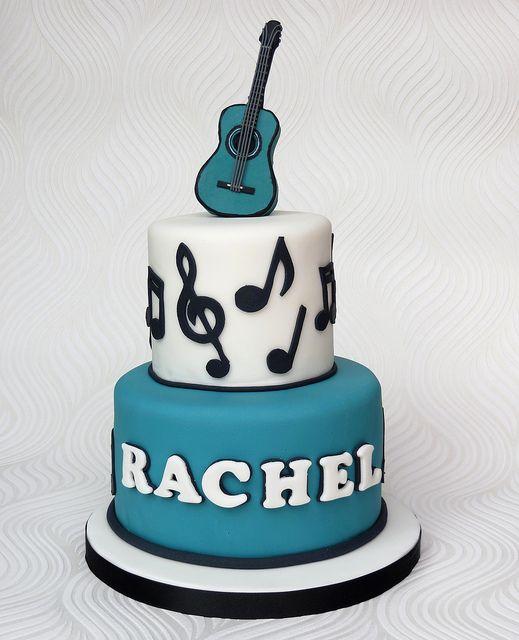 7 W Guitar Musical Notes Birthday Cakes Photo Music Note Birthday