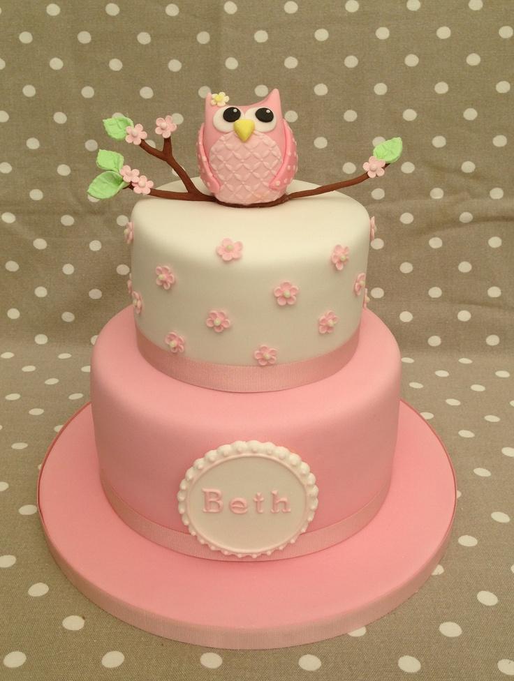 Baby Girl Owl 1st Birthday Cake