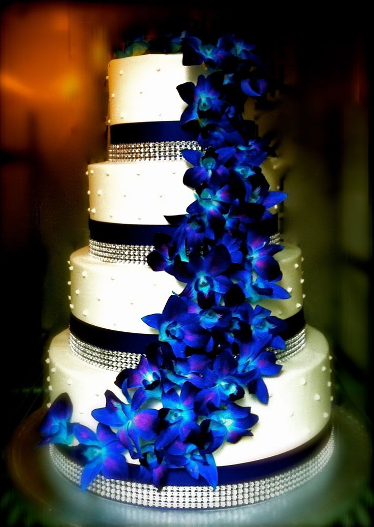 12 Royal Blue Wedding Cakes With Orchids Photo Blue And Purple