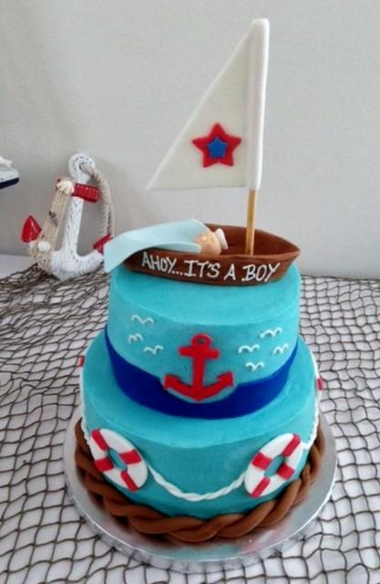 8 Nautical Baby Shower Single Layer Cakes Photo Nautical Theme