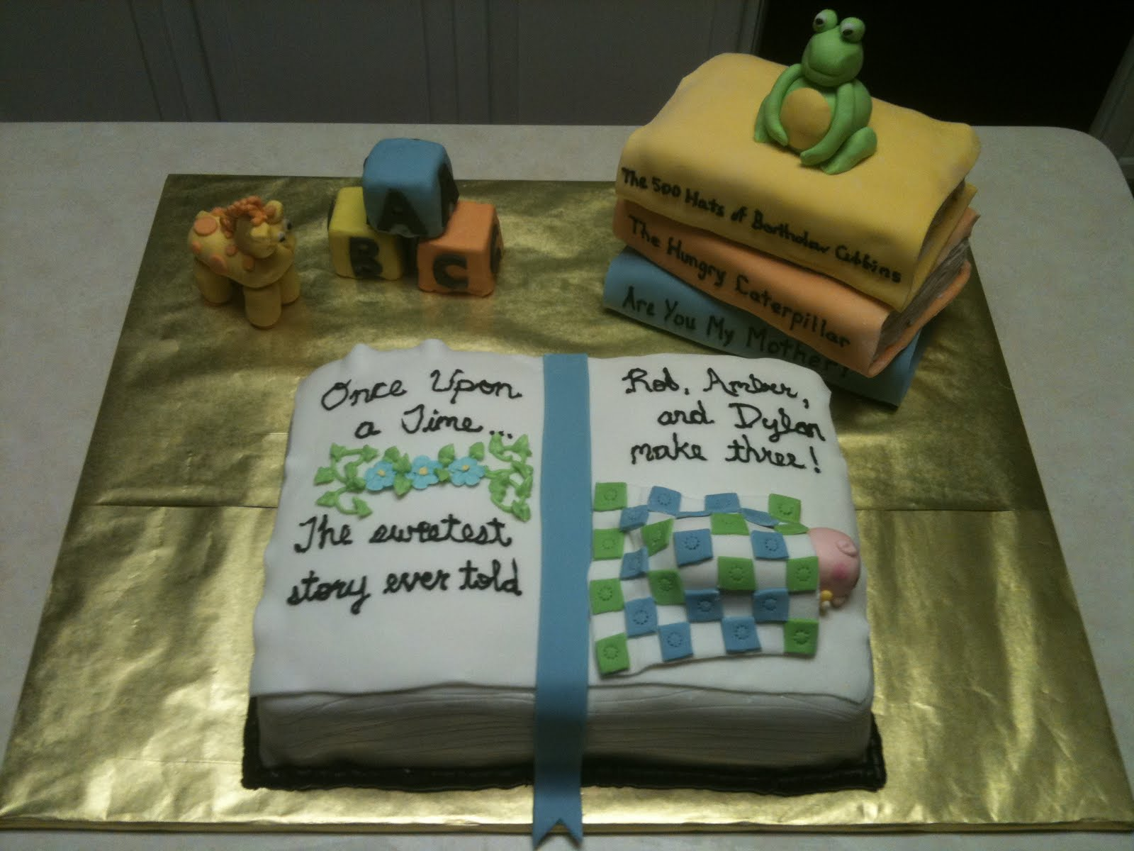Book Theme Baby Shower Cake