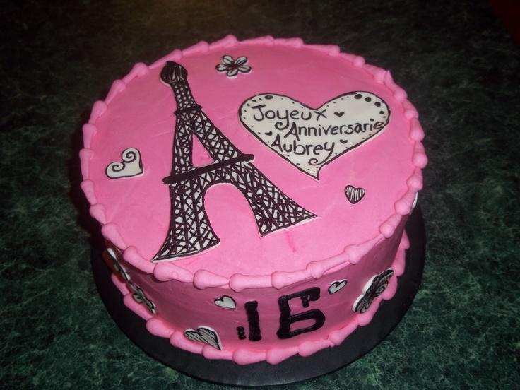 Awe Inspiring 10 Eiffel Tower Sweet Sixteen Birthday Cakes Photo Eiffel Tower Funny Birthday Cards Online Aeocydamsfinfo