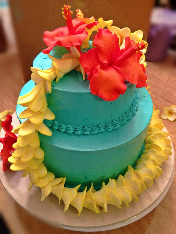 Superb 12 Hawaiian Themed Cakes Photo Hawaiian Theme Cake Ideas Personalised Birthday Cards Cominlily Jamesorg