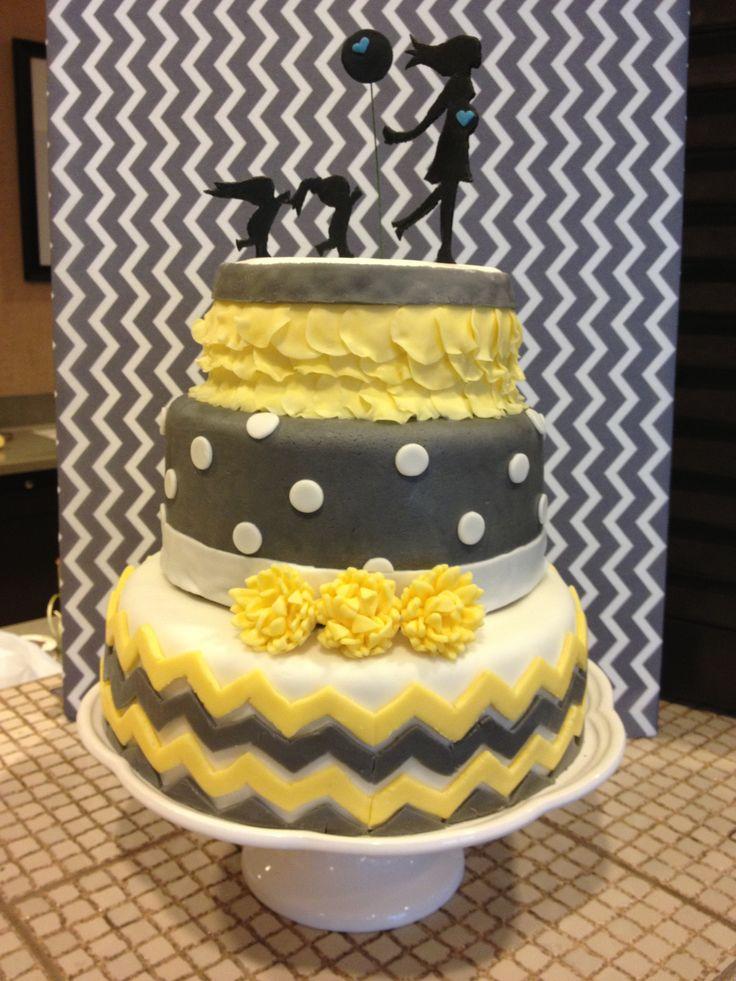 7 Yellow And Gray Chevron Baby Shower Cakes Pinterest Photo Yellow