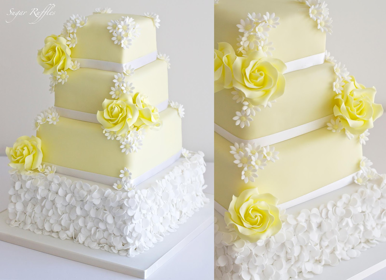 8 Yellow Square Wedding Cakes With Roses Photo - Square Wedding Cake ...