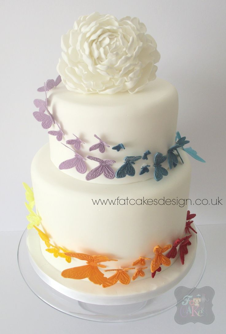 10 2 Tier Butterfly Wedding Cakes Photo - Butterfly Wedding Cake, 2 ...