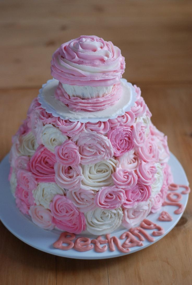 9 Girl First Birthday Cupcakes Photo Pink 1st Birthday Cake Girl