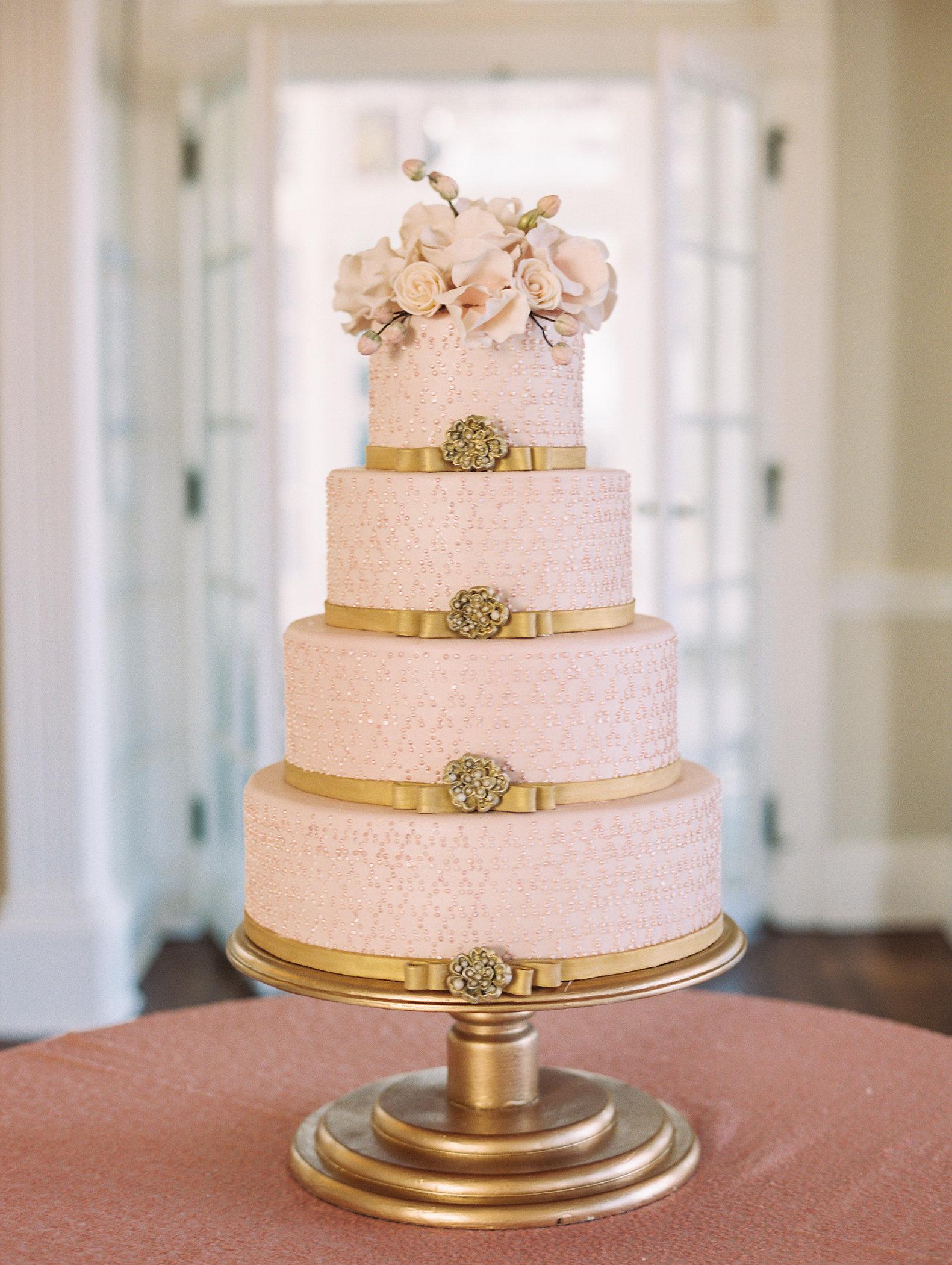 Gold and blush wedding cake catalog photo