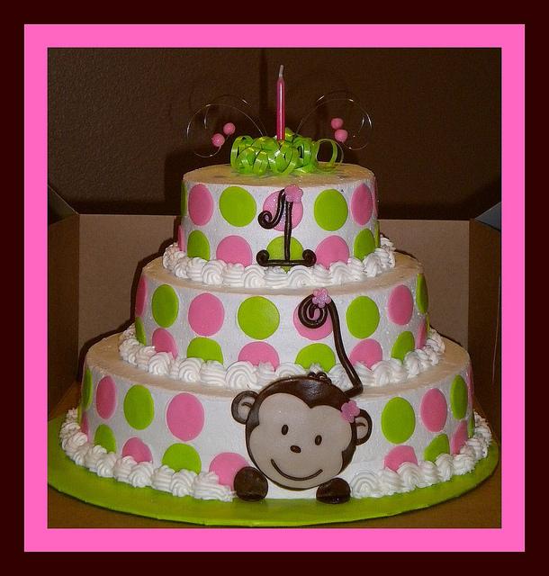 10 Monkey First Birthday Cakes For Girls Photo Monkey 1st Birthday